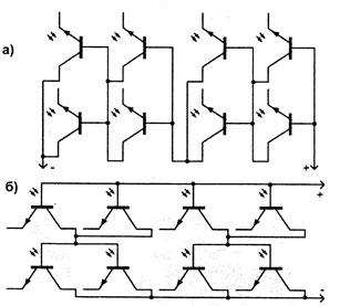 Схема солнечной батареих из транизсторов