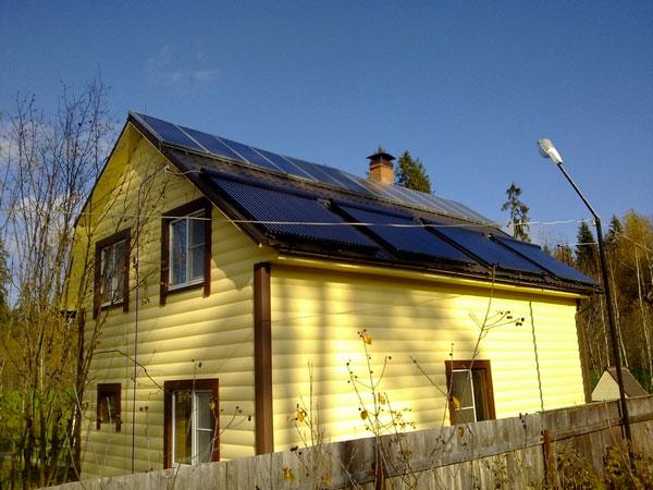 дом с солнечным отоплением и электричеством